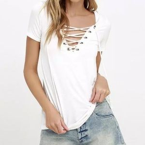 Tops - Sexy Laced V neck T-shirt